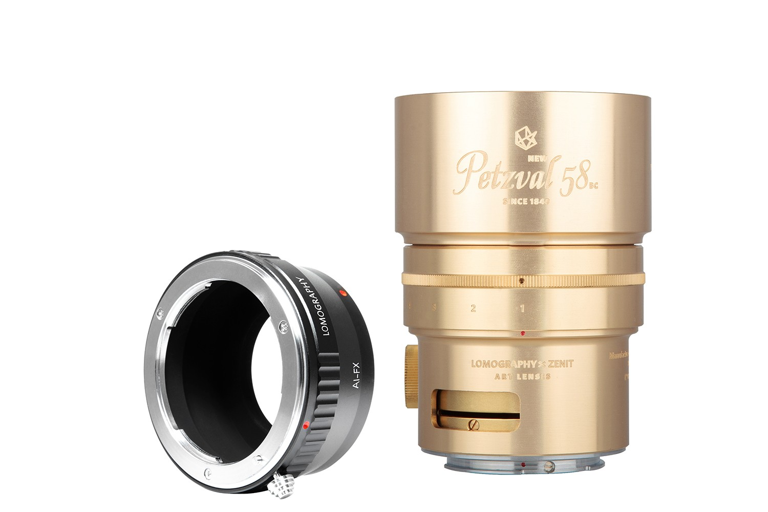New Petzval 58 Bokeh Control Art Lens Brass - Nikon F Mount with Fujifilm X Adapter