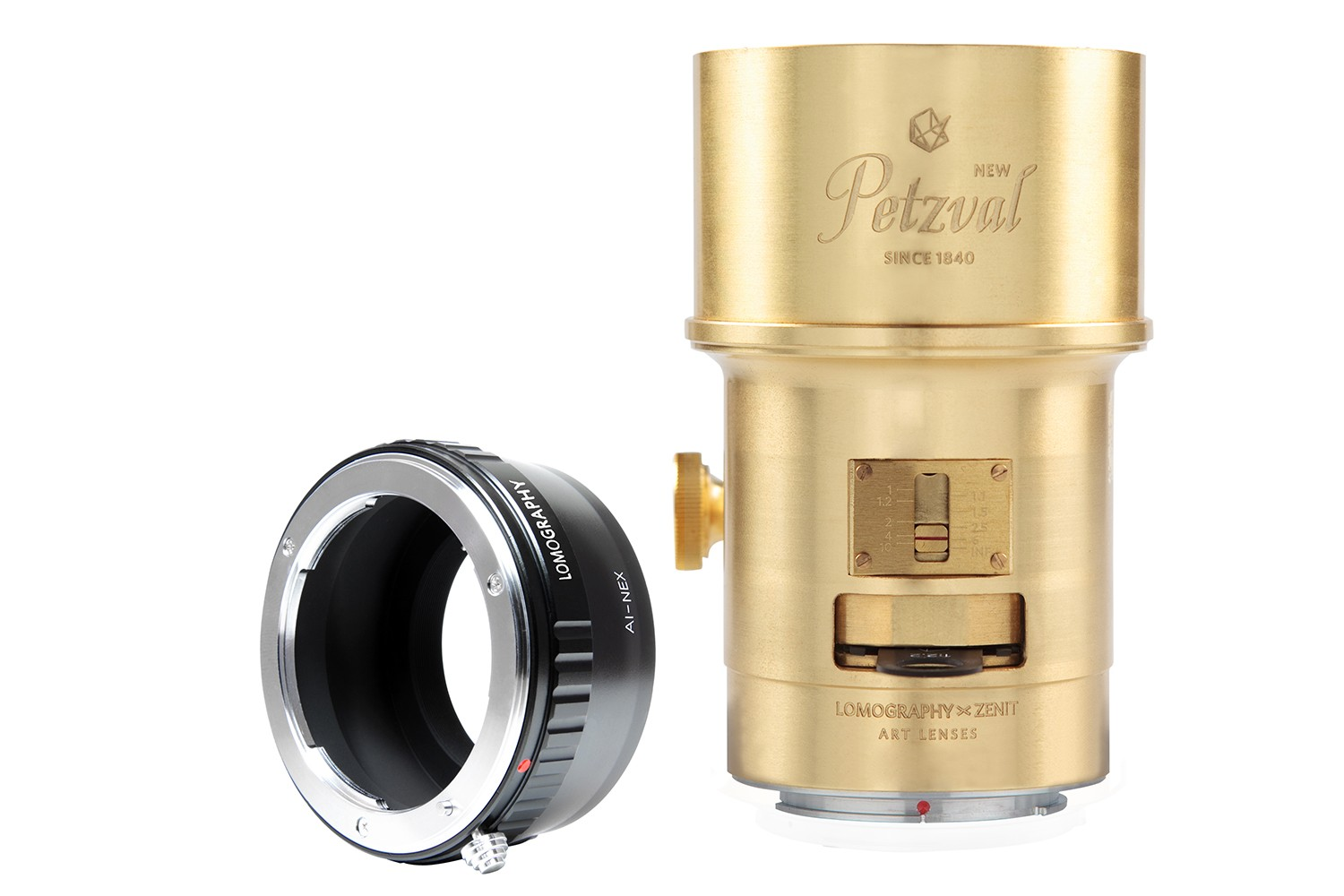 New Petzval 85 Art Lens Brass - Nikon F Mount with NEX Adapter