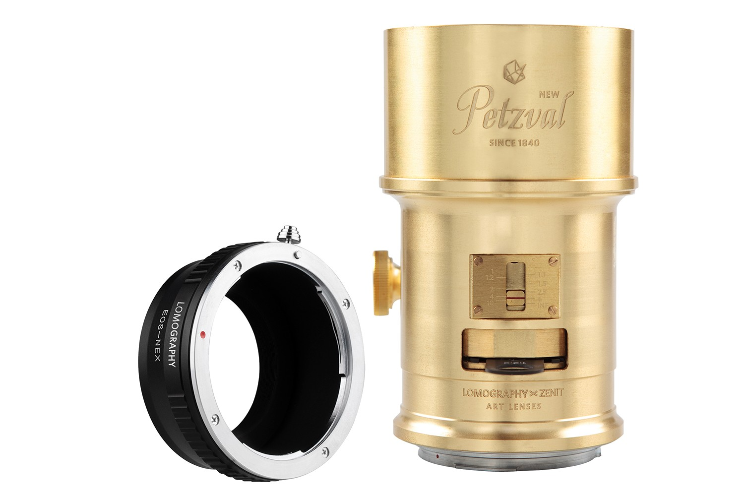 New Petzval 85 Art Lens Brass - Canon EF Mount with NEX Adapter