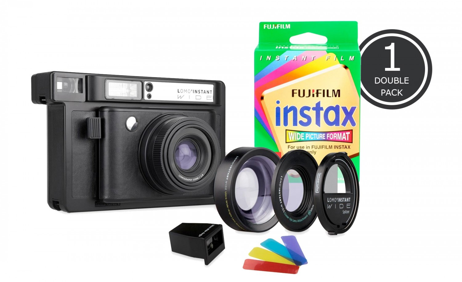 LOMO'INSTANT WIDE BLACK 及 1 盒 FUJIFILM INSTAX WIDE DOUBLE PACK 套裝