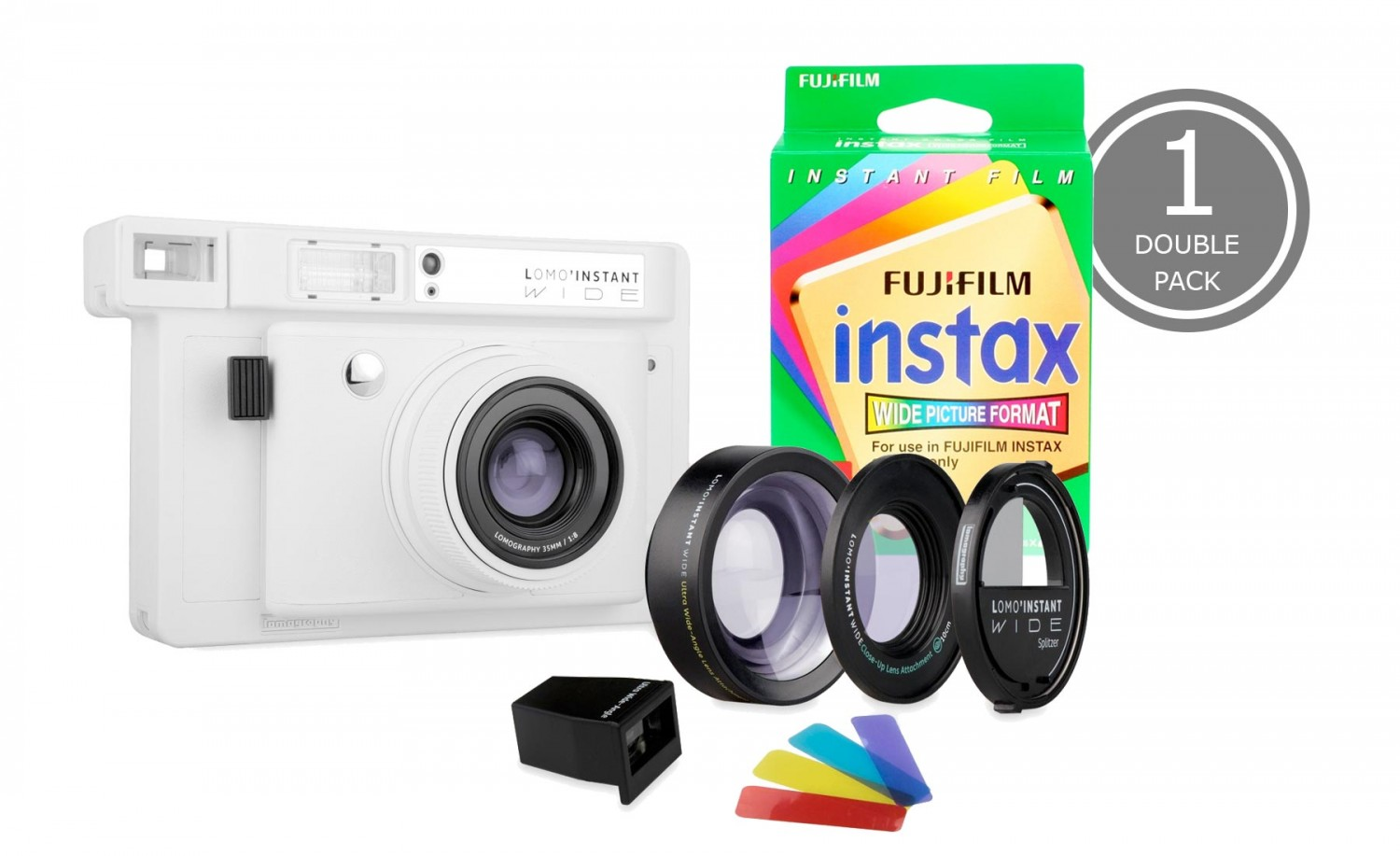 Lomo'Instant Wide and 1x Fujifilm Instax Wide Double Pack Film (White Edition)