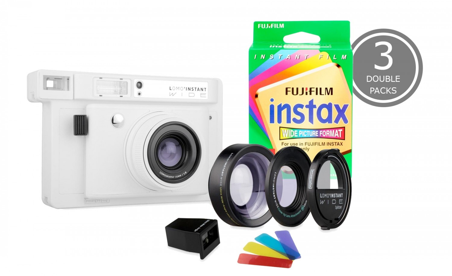 Lomo'Instant Wide White 及 3 盒 Fujifilm Instax Wide Double Pack 套裝<br \>