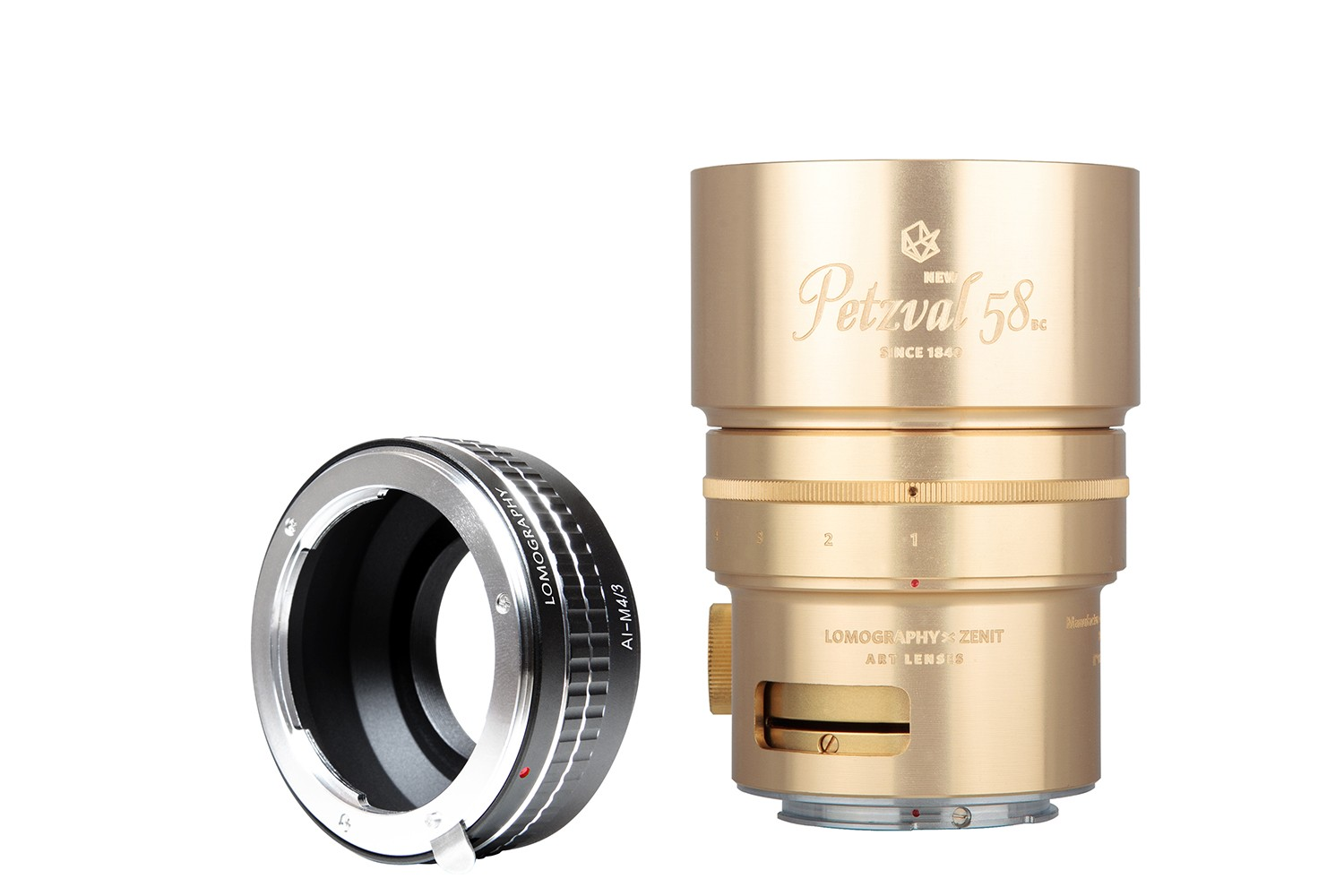 New Petzval 58 Bokeh Control Art Lens Brass - Nikon F Mount with M4/3 Adapter