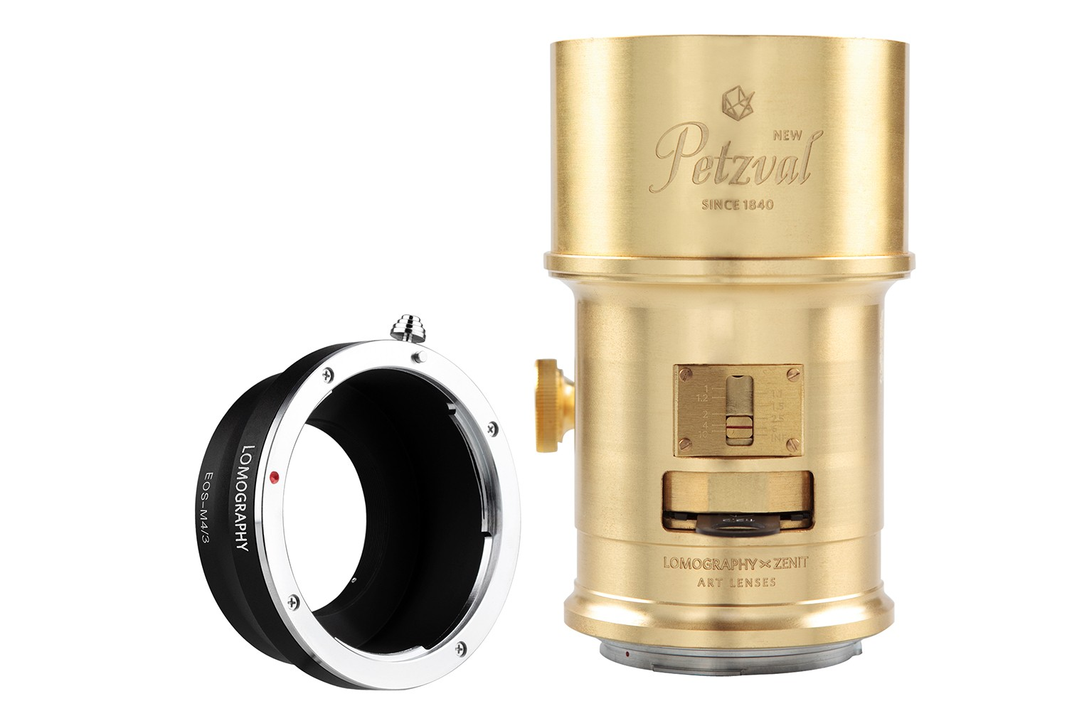 New Petzval 85 Art Lens Brass - Canon EF Mount with M4/3 Adapter