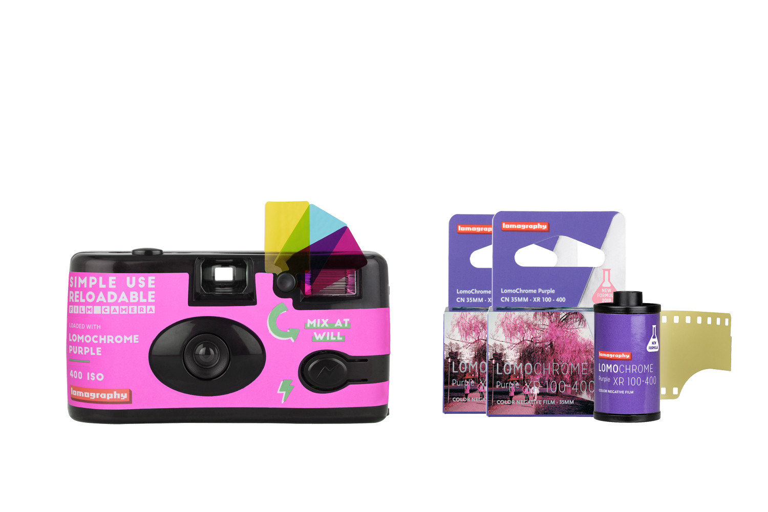 Simple Use Film Camera Reload Kit LomoChrome Purple