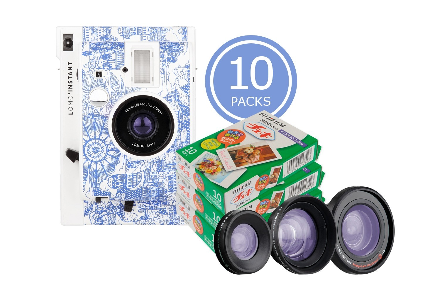 Lomo'Instant Camera and Lenses (Explorer Edition) & 10x Fujifilm Instax Mini Film