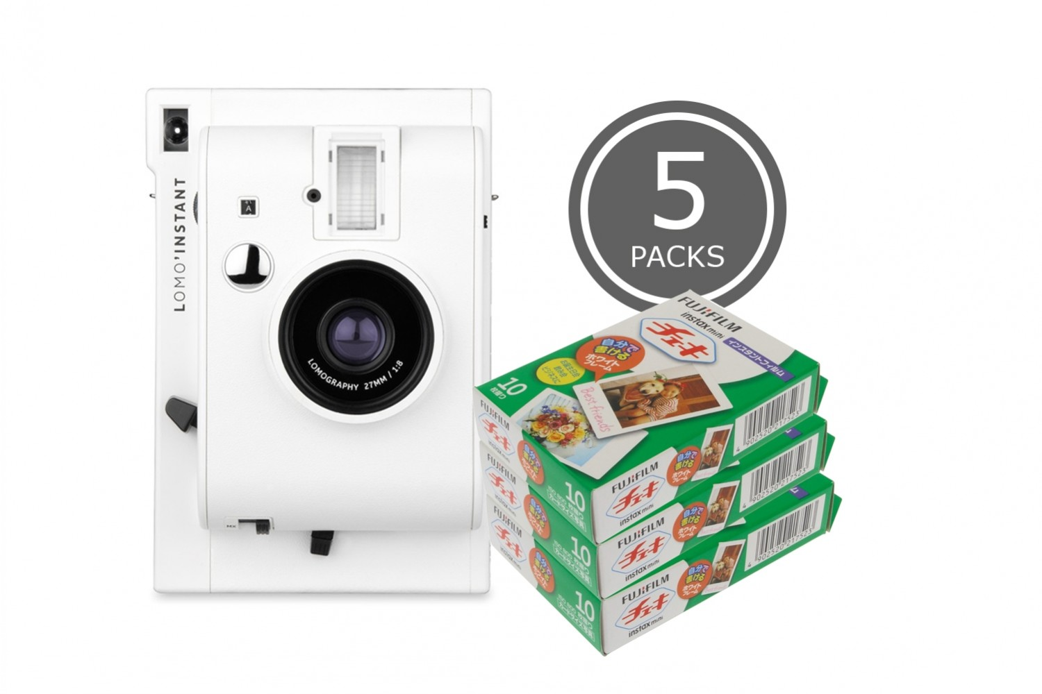 Appareil Lomo'Instant White & 5 packs de Fuji Instax Mini