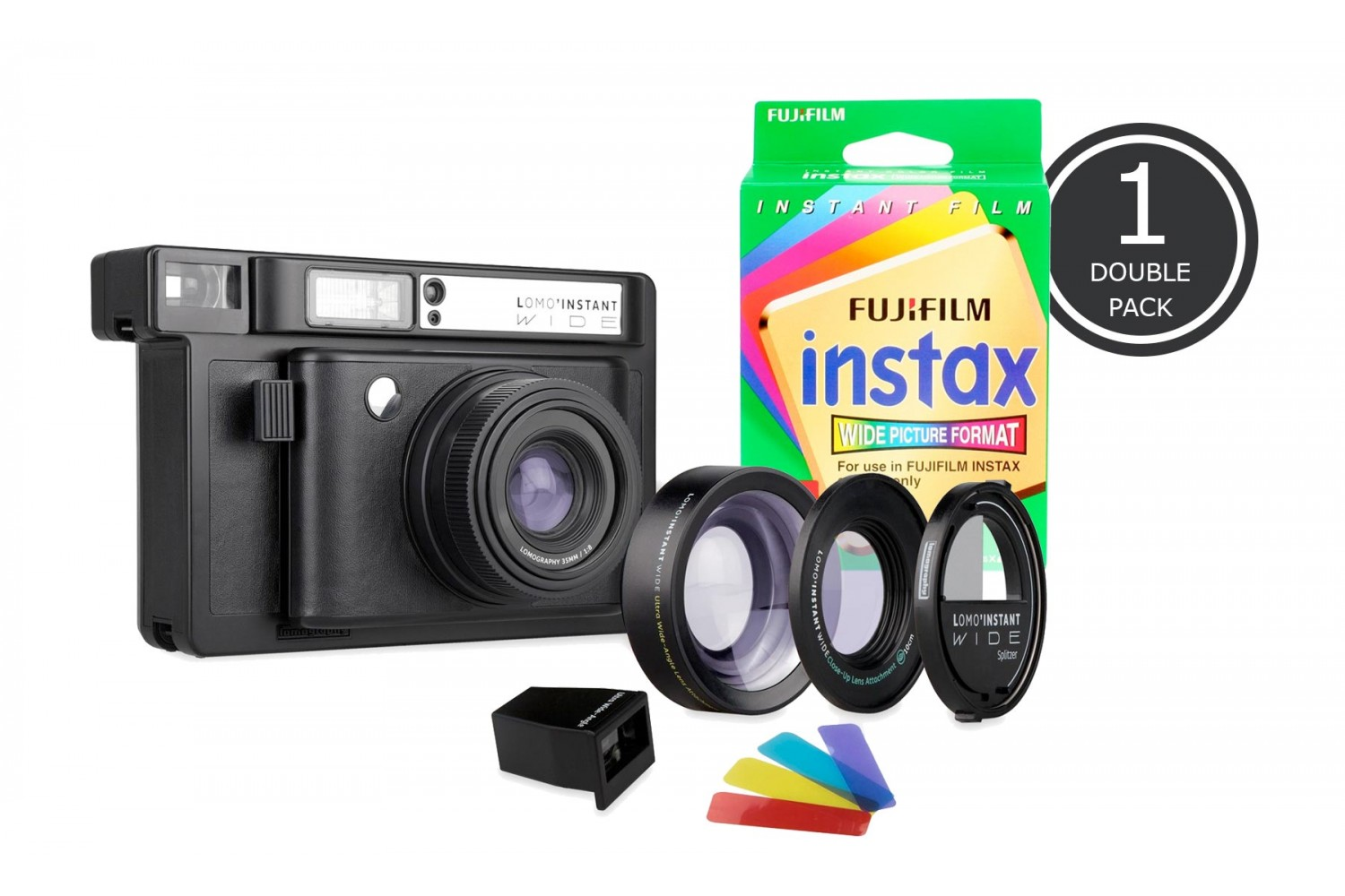 Lomo'Instant Wide and 1x Fujifilm Instax Wide Double Pack Film (Black Edition)