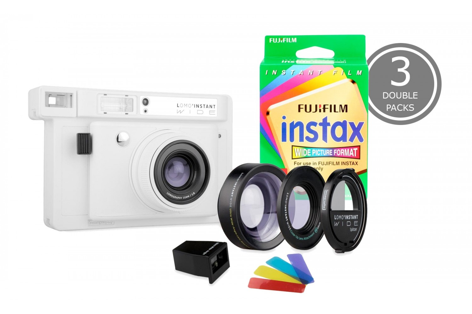 Lomo'Instant Wide and 3x Fujifilm Instax Wide Double Pack Film (White Edition)