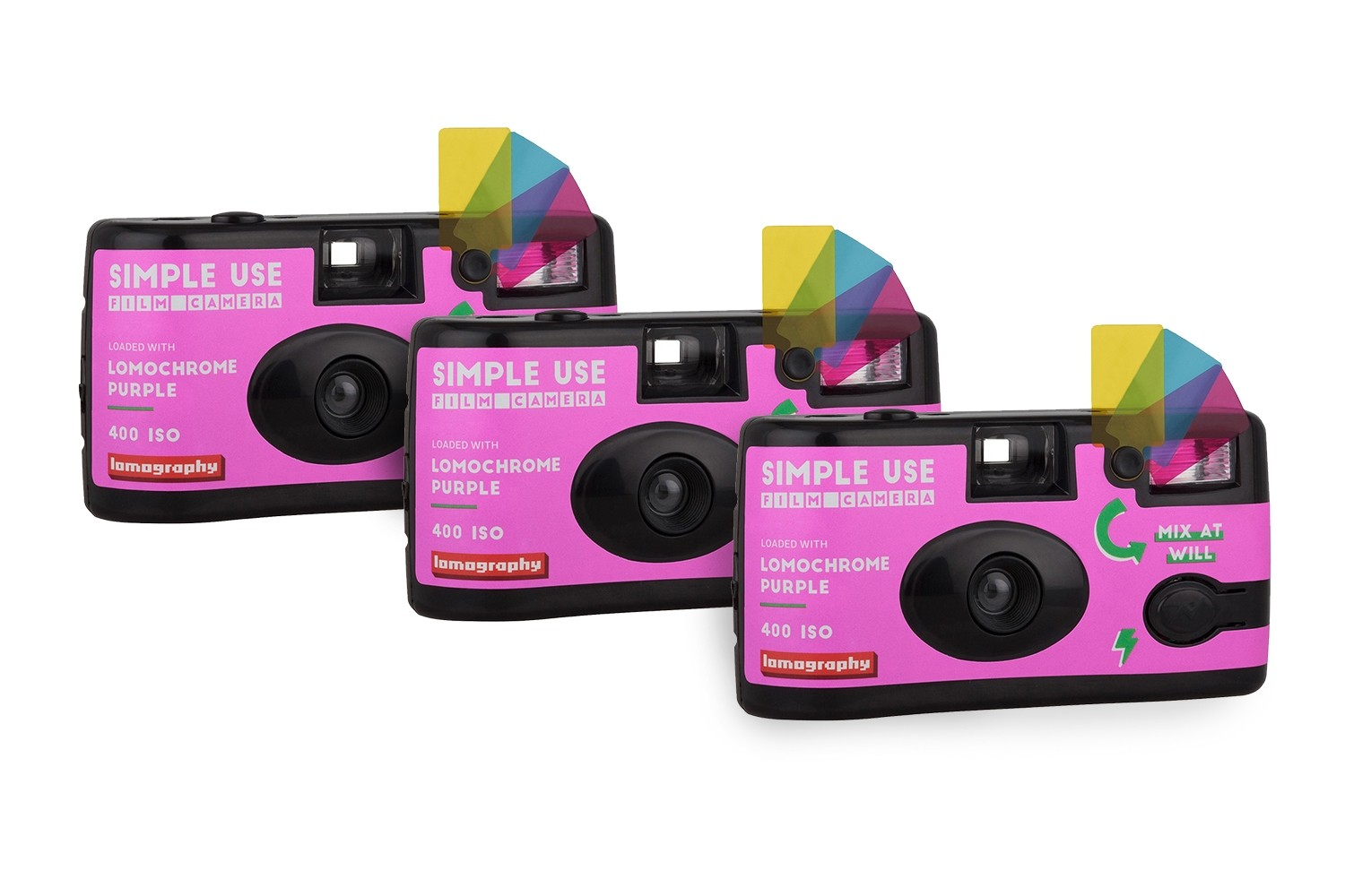 2019 Lomochrome Purple Simple Use Film Camera Pack de 3
