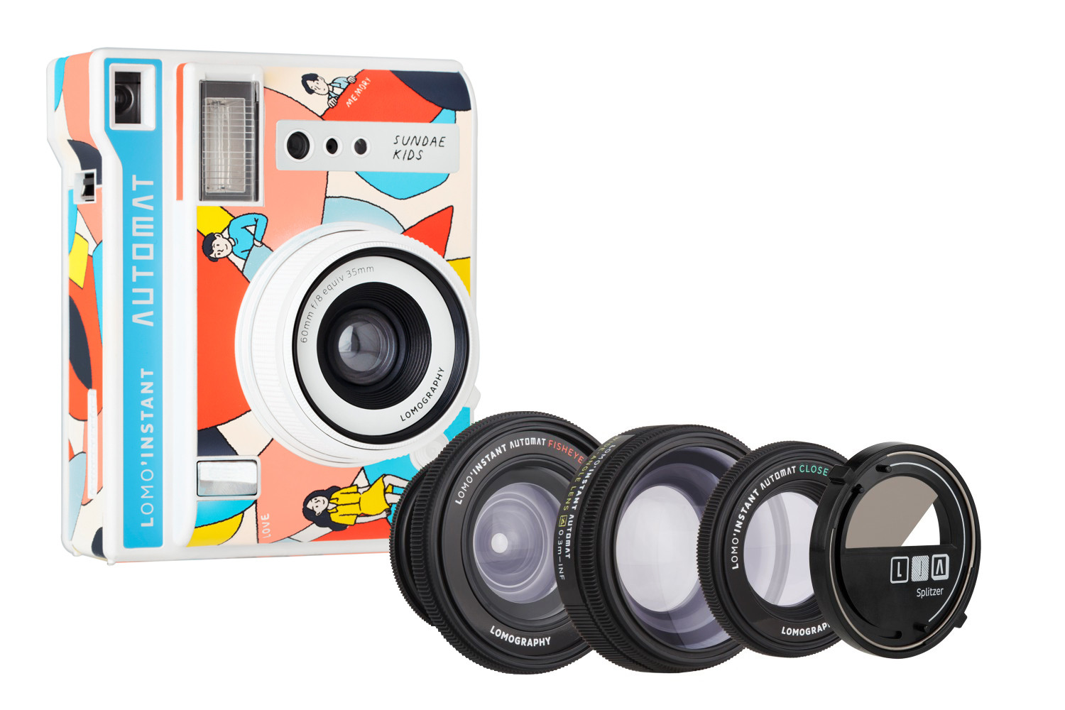Lomo'Instant Automat Camera and Lenses (Sundae Kids Edition) + 3種類のアタッチメントレンズ付