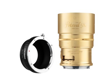 New Petzval 58 Bokeh Control Art Lens Brass - Canon EF Mount with FUJI X Adapter